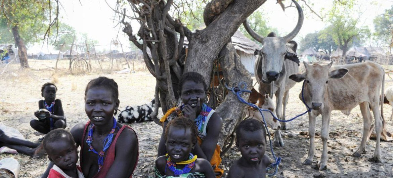 Des femmes et leurs enfants déplacés par les tensions ethniques près de Pibor, dans l'Etat de Jonglei, au Soudan du Sud.