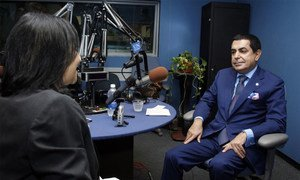 Nassir Abdulaziz Al-Nasser, President of the sixty-sixth session of the General Assembly, is interviewed for UN TV and UN Radio.