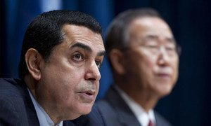 Nassir Abdulaziz Al-Nasser, President of the United Nations General Assembly, speaks at a press conference. Secretary-General Ban Ki-moon is seen in the background.