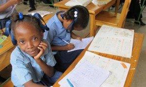 Children attending classes in Haiti