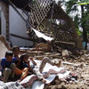 Ruins of homes destroyed by the May 2006 earthquake in south and central java.