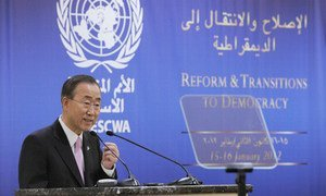 Secretary-General Ban Ki-moon addresses high-level meeting on Reform and Transitions to Democracy in Beirut.