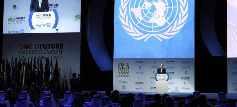 Secretary-General Ban Ki-moon speaks at the opening ceremony of the World Future Energy Summit 2012 in Abu Dhabi, United Arab Emirates.