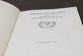La copie originale de la Charte des Nations Unies conservée aux Archives nationales des Etats-Unis,à Washington DC