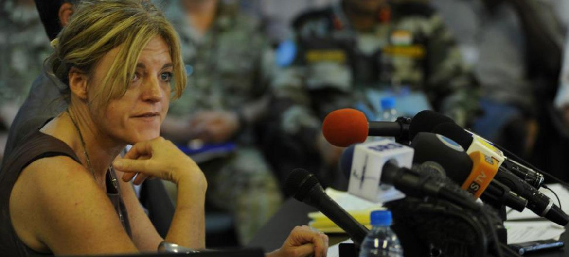 Special Representative Hilde Johnson holds press conference in Juba, capital of South Sudan.