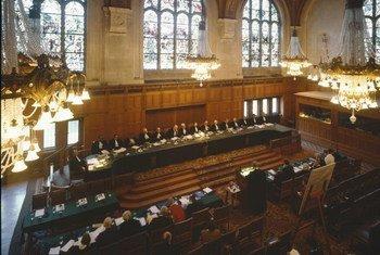 Aperçu de la salle d'audience de la Cour internationale de justice (CIJ).
