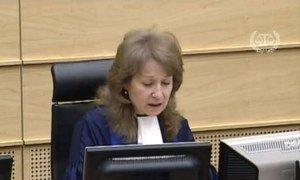 International Criminal Court judge Ekaterina Trendafilova reads summary of decision in the two Kenya cases