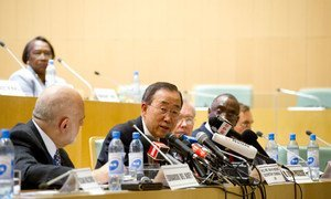 Secretary-General Ban Ki-moon  briefs the press following his address to the 18th African Union Summit, in Addis Ababa, Ethiopia.