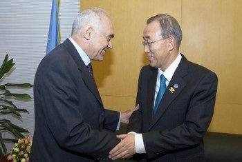 Secretary-General Ban Ki-moon (right) meets with Foreign Minister Mohamed Kamel Ali Amr of Egypt in Addis Ababa, Ethiopia.
