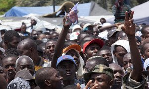 Crowds outside the Presidential Palace in Port-au-Prince after elections in 2011.