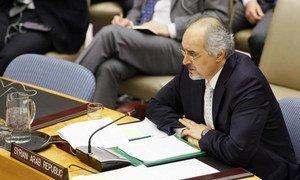 Amb. Bashar Ja'afari of Syria addresses Security Council meeting.