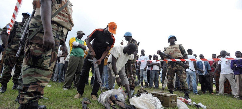 UN voluntary disarmament operation underway in Abobo, Côte d'Ivoire.