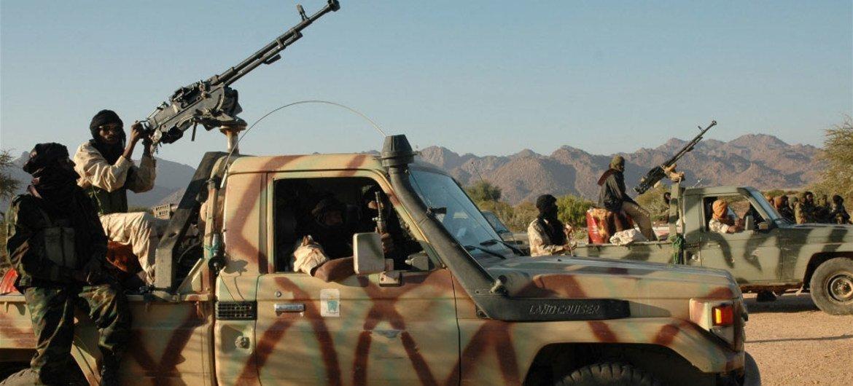 Tuareg rebels near the Sahara desert.
