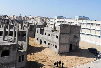 UN-funded housing project site for Palestinians at Khan Younis, Gaza.