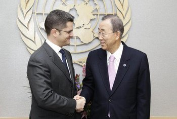 Secretary-General Ban Ki-moon (right) meets with Vuk Jeremic, Foreign Minister of Serbia.