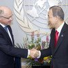 Secretary-General Ban Ki-moon (right) meets with Héctor Marcos Timerman, Minister for Foreign Affairs of Argentina.