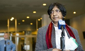 High Commissioner Navi Pillay  speaks to reporters following her briefing to the General Assembly on Syria.