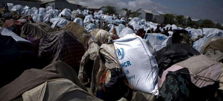 Un site accueillant des déplacés somaliens à Mogadiscio. Photo HCR/S. Modola.