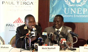 Former marathon champion Paul Tergat (right) and current world  record-holder Partick Makau brief press.