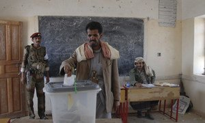 Voting in presidential elections in Yemen.