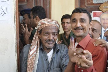 Happy faces after voting in the presidential elections in Yemen.