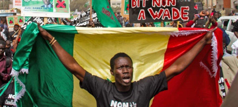 Manifestation le 26 février 2012 à Dakar au Sénégal.