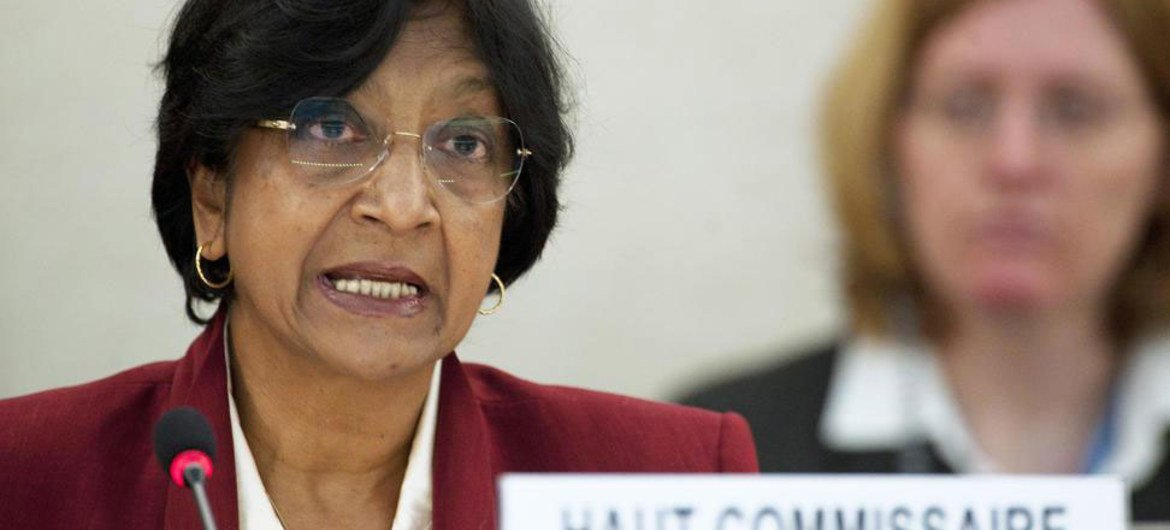 High Commissioner for Human Rights Navi Pillay addresses the high-level segment of the Human Rights Council's 19th session.
