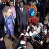 Secretary-General Ban Ki-moon pays a visit to the Fountain of Hope drop-in centre for vulnerable children in Kamwala, Zambia (February 2012).