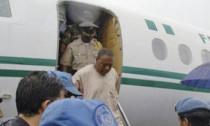 Former Liberian President Charles Taylor on his way to the Special Court for Sierra Leone in Freetown on 29 March 2006.