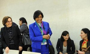Rights Commissioner Navi Pillay (centre) at the Human Rights Council's panel discussion to tackle violence based on sexual orientation.