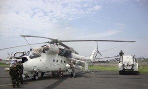 Un hélicoptère ukrainien sur le tarmac de l'aéroport de Goma, en République démocratique du Congo. Photo MONUSCO