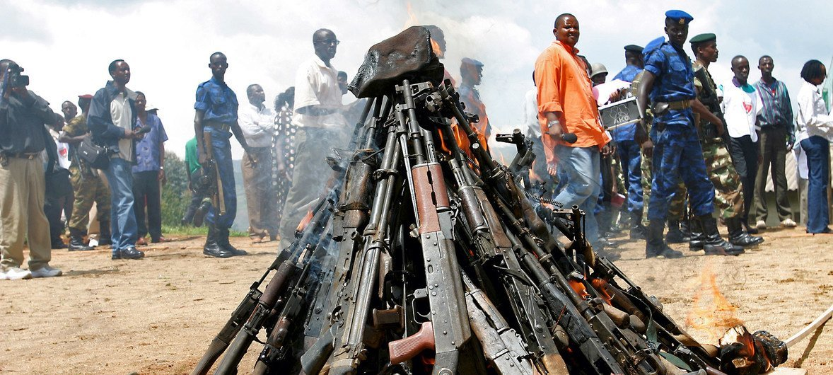 Weapons being burnt during the official launch of the Disarmament, Demobilization, Rehabilitation and Reintegration (DDRR) process in Muramvya, Burundi. (file)