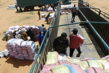 Delivery of aid to Malian refugees in Mbera camp in Mauritania.