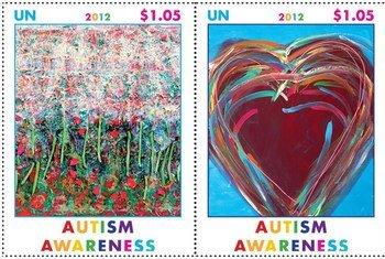 Марки ООН, посвященные Всемирному дню распространения информации об аутизме Фото Почтовой администрации ООН
