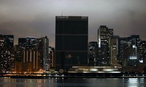 Lights dimmed at UN Headquarters to observe Earth Hour in 2012.