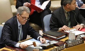 Amb. Jeffrey DeLaurentis of the United States presides over the Security Council.