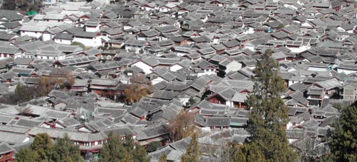 Urban sprawl - a view of old Lijian city in China.