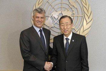Secretary-General Ban Ki-moon (right) meets with Hachim Thaçi, Representative of the Kosovo authorities.