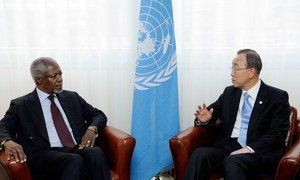 Secretary-General Ban Ki-moon (right) and UN and Arab League's Joint Special Envoy for Syria Kofi Annan, in Geneva.