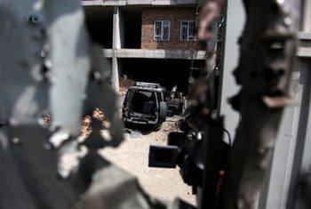 L'un des bâtiments attaqués par les rebelles en Afghanistan.