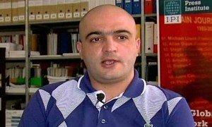 Azerbaijani journalist and human rights activist Eynulla Fatullayev, winner of the 2012 UNESCO/Guillermo Cano World Press Freedom Prize.