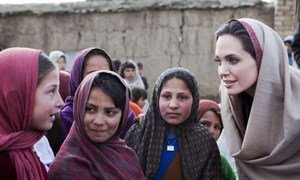 Angelina Jolie meets schoolgirls in a village in Afghanistan. She has been named Special Envoy of UNHCR chief, António Guterres.