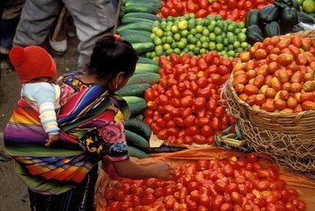 Buying food at the market.