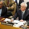 俄罗斯常驻联合国代表丘尔金在安理会发言。联合国图片/P. Filgueiras