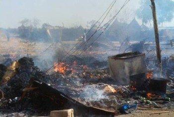 Résultat de bombardements aériens dans l'Etat d'Unity au Soudan du Sud.