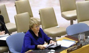 Executive Director of UN Women Michelle Bachelet addresses Security Council meeting on Women, Peace and Security.