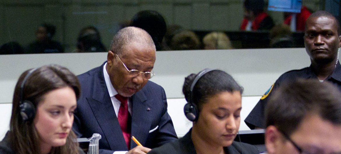 Former Liberian President Charles Taylor waits for verdict at the Special Court for Sierra Leone.
