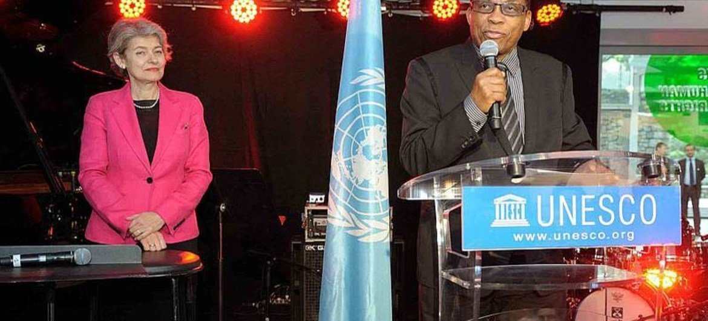 UNESCO Director-General Irina Bokova (left) and Goodwill Ambassador Herbie Hancock kick-off the first annual International Jazz Day in Paris, France.