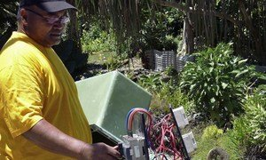 A renewable energy project in Tokelau, supported by UNDP, converts solar-generated power to electricity.