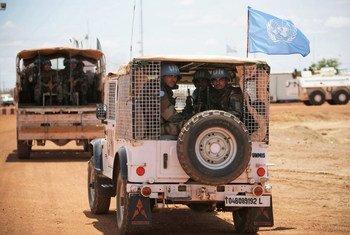 Des Casques bleus de la FISNUA, déployésà Abyei.